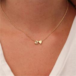 Fashion Tiny Dainty Heart Initial Necklace Woman Girl Name L