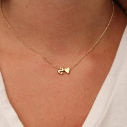 SUMENG Fashion Tiny Heart Dainty Initial Personalized Letter