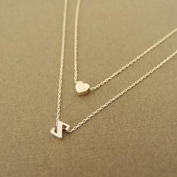 Fashion Tiny Heart Initial Double layer <font><b>Necklace</b