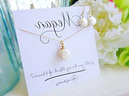 Freshwater Coin Pearl Necklace & Earring Set with Personaliz