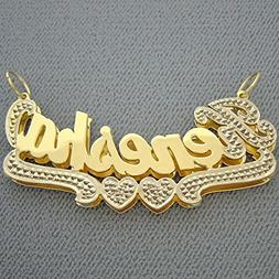 14K Gold 3D Double Plates Personalized Large 2 Inch Name Pen