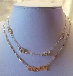 GOLD BABY GIRL NAME PLATE HEART RHINESTONE CHOKER STATEMENT