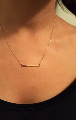 Gold bar necklace, 3x2, Extra Small Skinny Bar Necklace, Bar