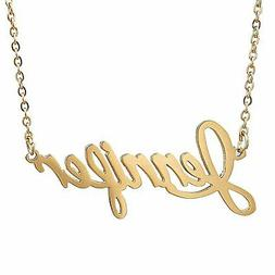 HUAN XUN Gold Color Plated Chic Name Pendant Necklace, Jenni