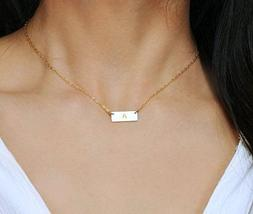 Small 14K Gold Fill Bar Necklace, Personalized Minimal Recta