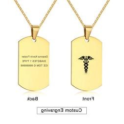 Gold Medical Alert ID Name Men Necklace Chain Pendant Dog Ta