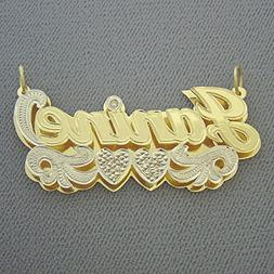 Solid 10k Gold Large 2 Inches Name Pendant Personalized Jewe