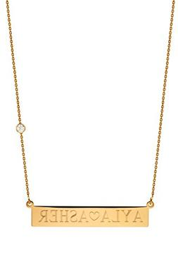 14k gold nameplate necklace with bezel diamond