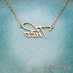Gold Necklace with my name, mynamenecklace, 10k 9k 14k Gold