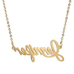 AOLO Gold Plated Customized Jennifer Name Pendant Necklace J