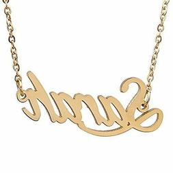 HUAN XUN Gold Plated Name Necklace Valentine's Day Gift, Sar