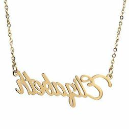 AOLO Gold Plated Name Pendant Necklace Gift Elizabeth