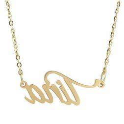 AOLO Gold Plated Nameplated Engraved Name Necklace Tina Pend