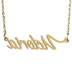 Huan XUN Gold Plated Personalized Name Handwriting Necklace