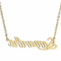AOLO Gold Plated Script Gold Name Plate Necklace Samantha