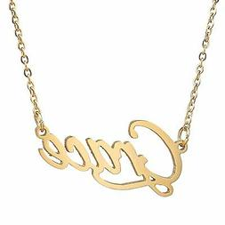 AOLO Gold Plated Stainless Steel Grace Pendant Name Necklace