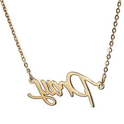 Huan XUN Gold Plated Stainless Steel Name Celebrity Necklace