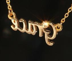 GRACE Name Necklace with Rhinestone Gold or Silver Tone