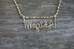 Hand Scripted 14K Gold Filled Personalized Name Necklace Abi