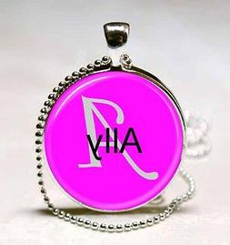 Handmade Ally Name Monogram Glass Dome Necklace Pendant
