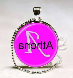 Handmade Athena Name Monogram Glass Dome Necklace Pendant