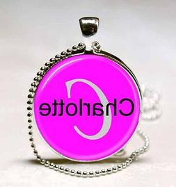 Handmade Charlotte Name Monogram Glass Dome Necklace Pendant
