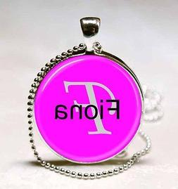 Handmade Fiona Name Monogram Glass Dome Necklace Pendant