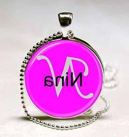 Handmade Nina Name Monogram Glass Dome Necklace Pendant