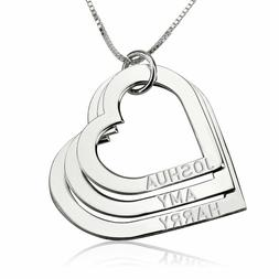 Heart Mothers Necklace - Engraved Mothers Pendant Kids Names