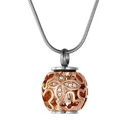 Hollow Butterfly Crystal Urn Pendant Necklace - COCO Park Al
