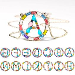 HOT Women Rainbow Letter Necklace Choker Chain Name Initials