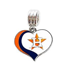 Heavens Jewelry HOUSTON ASTROS BASEBALL TEAM HEART CHARM SLI