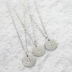 "Initial A-Z Letter Coin Disc Name Pendant Necklace Silver Plated 18/"" N132-1"