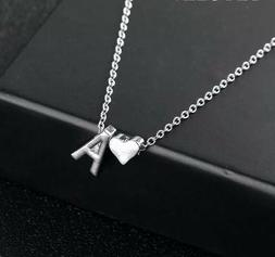 Initial A-Z Letter Heart Pendant Necklace Silver Tone Person