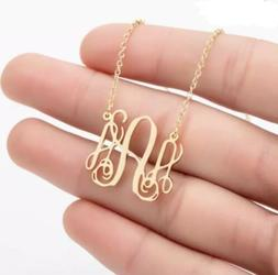 Initial A-Z Monogram Pendant Necklace Gold Plated Personaliz
