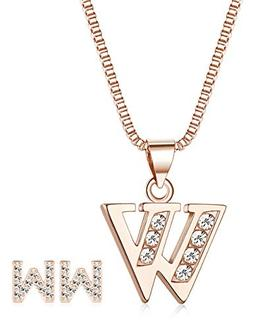 ORAZIO Initial Necklace Earrings for Women Girls Alphabet Le