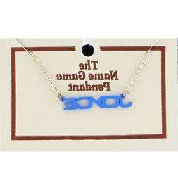 Joyce Name Game Necklace Gold Tone Jewelry Blue Pendant Vint