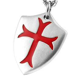 Knights Templar Cross Joshua 1:9 Shield Stainless Steel Pend