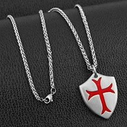 HZMAN Knights Templar Cross Joshua 1:9 Shield Stainless Stee