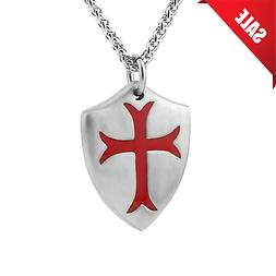 Knights Templar Cross Shield Stainless Steel Pendant Jewelry