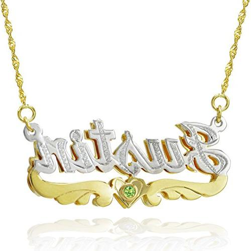 14K Two Tone Gold Personalized 3D Double Nameplate Necklace