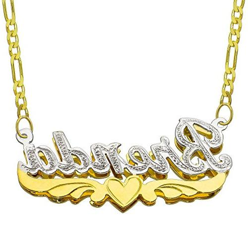 14K Two Tone Gold Personalized Double Plate 3D Name Necklace