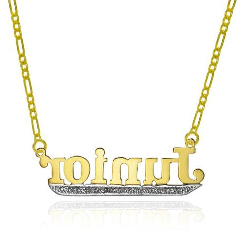 14K Two Tone Gold Personalized Name Necklace - Style 11