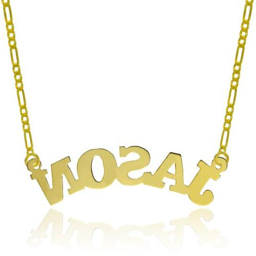 14K Yellow Gold Personalized Name Necklace - Style 7