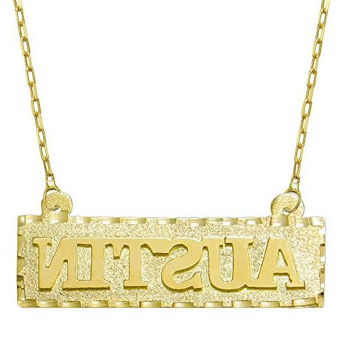 14K Yellow Gold Personalized Name Plate Necklace - Style 1