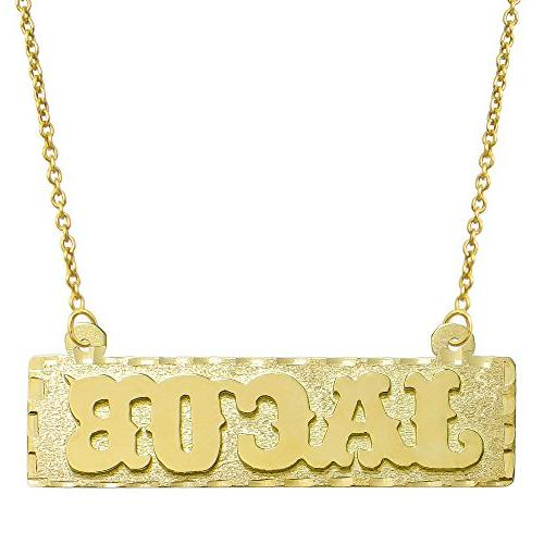 14K Yellow Gold Personalized Name Plate Necklace - Style 4