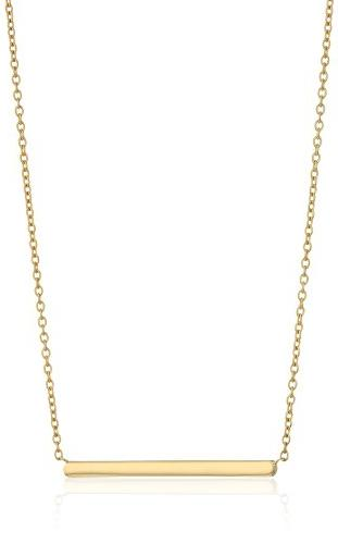 14k Yellow Gold High Polish Rolo Name Plate Necklace, 17""