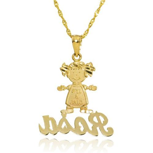 """14k Yellow Gold """"IT'S A GIRL"""" Cursive Personalize Name Baby"""