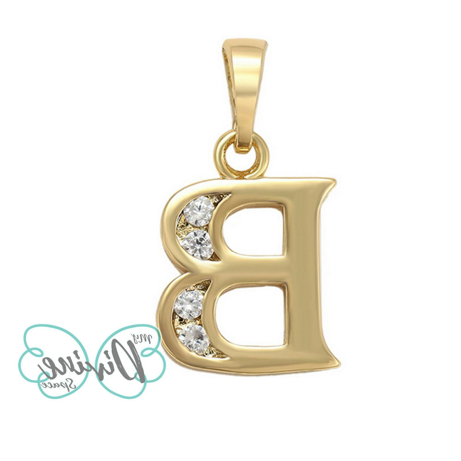 14K Plated Letter Name Necklace with Chain.