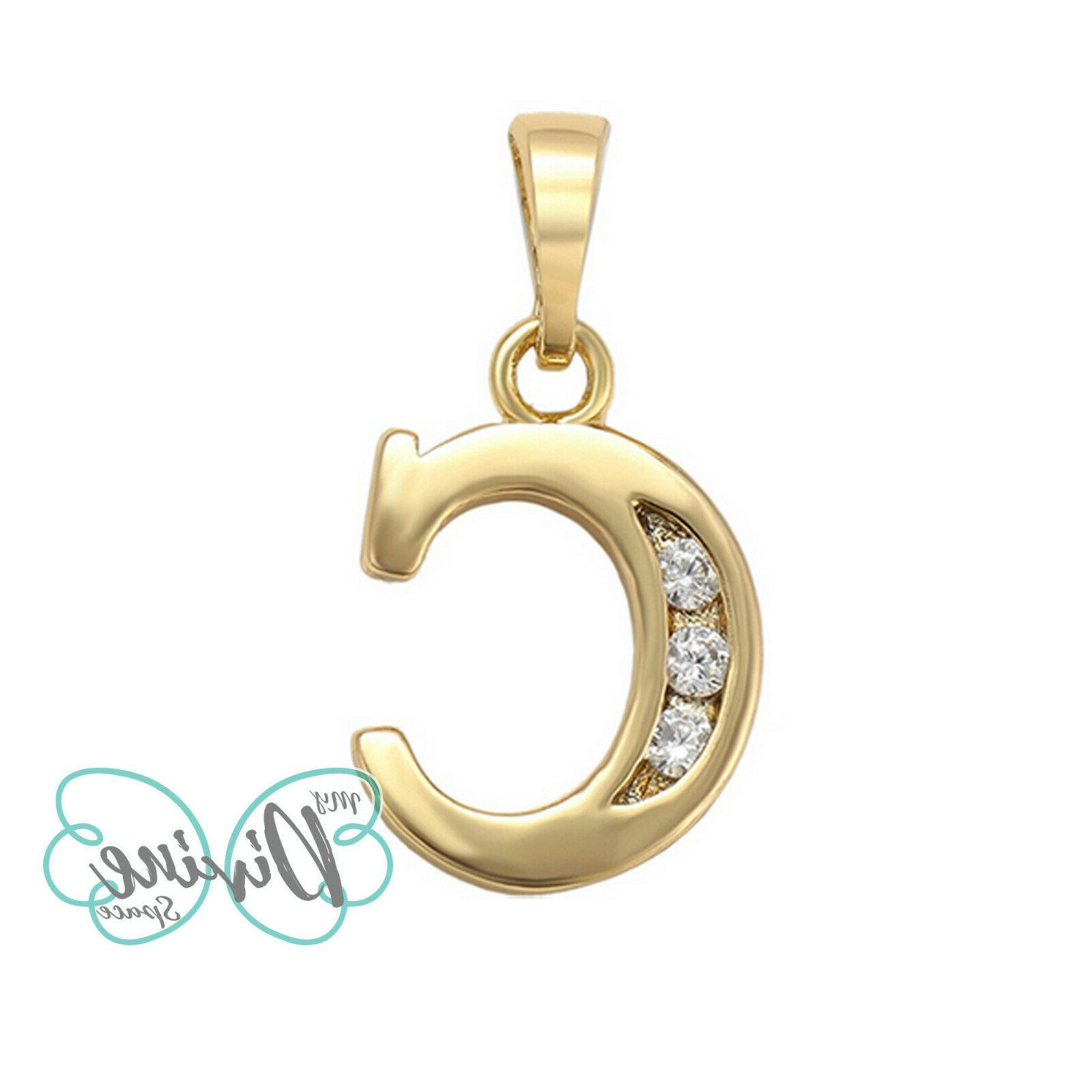 14K Plated Letter Pendant Necklace with Chain. Oro
